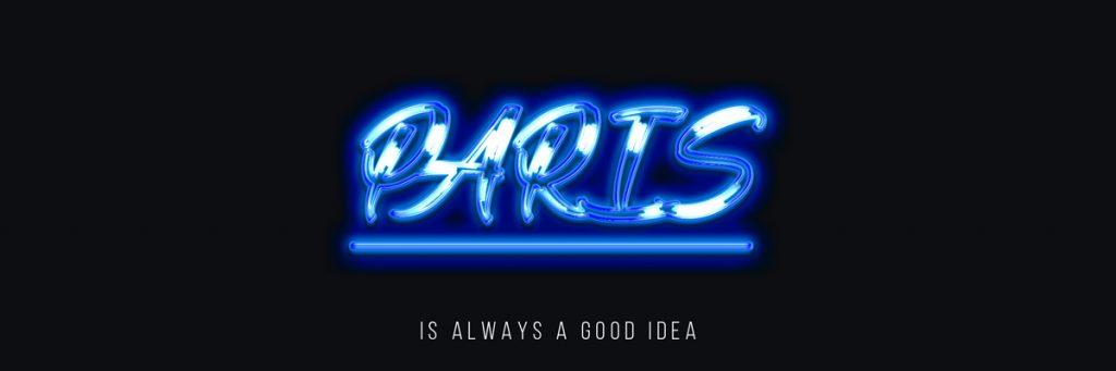 Font und Namen in leuchtender blauer Schrift mit Effekten